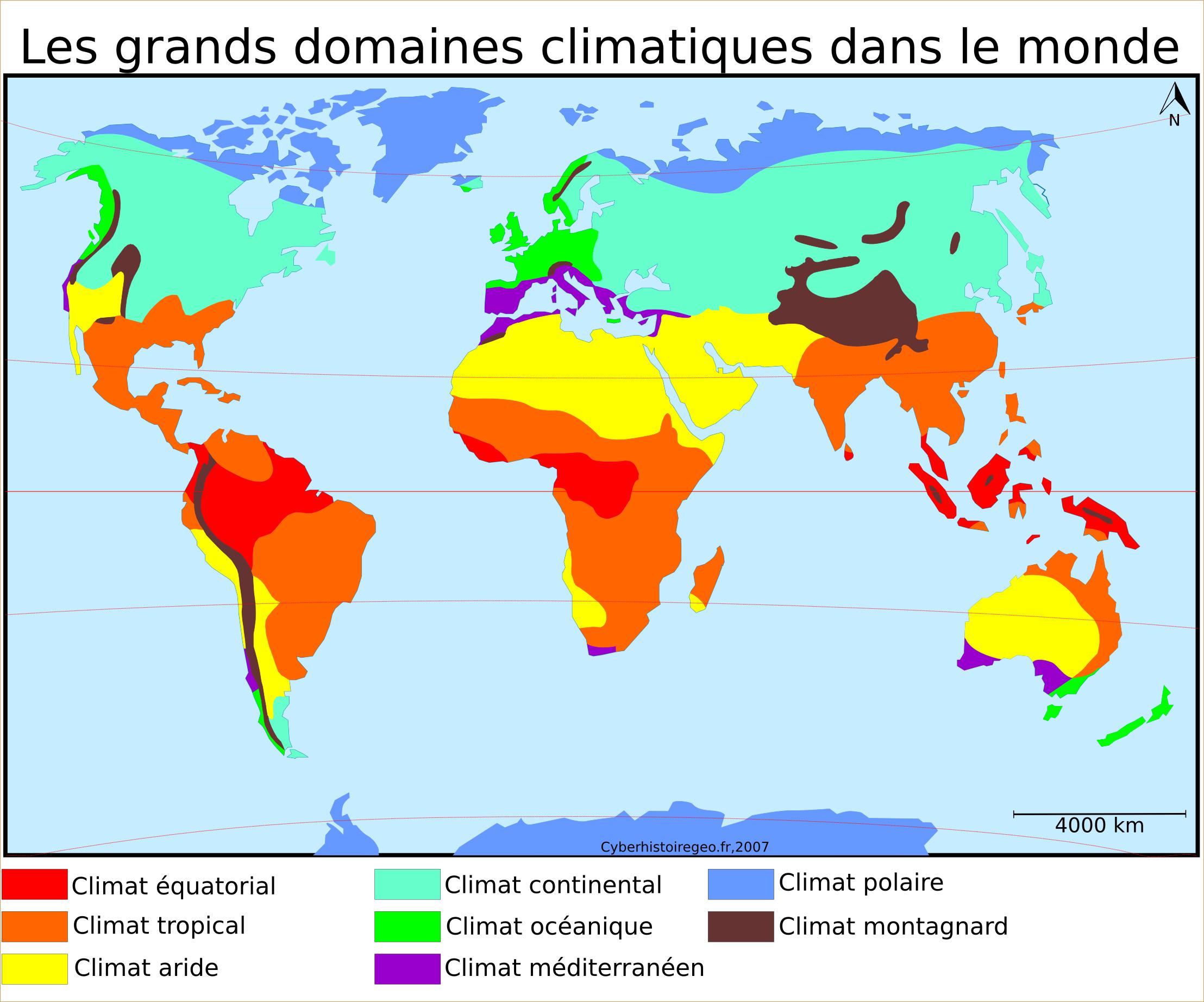 Les grands domaines climatiques dans le monde – Cyberhistoiregeo Carto