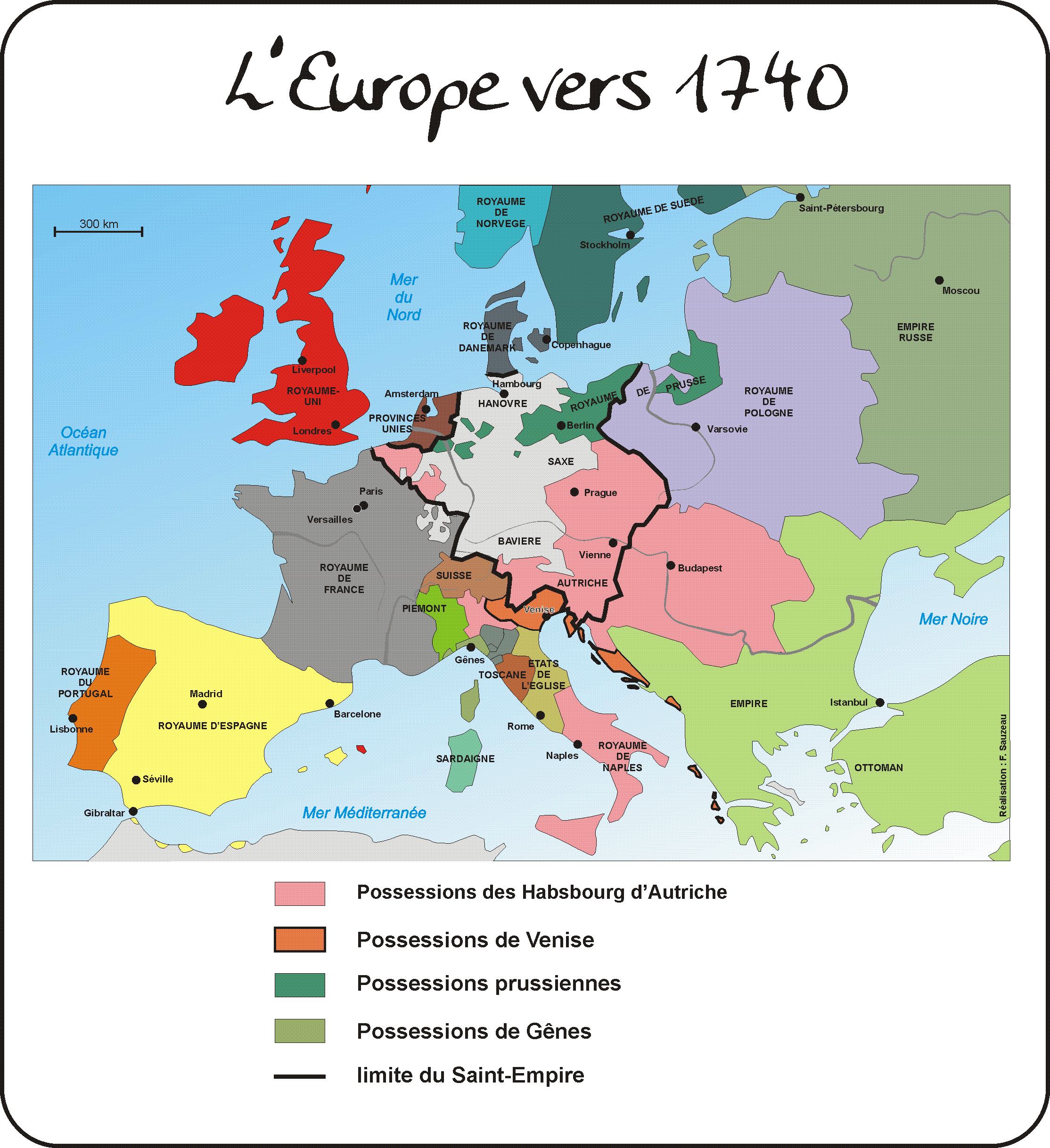 carte europe xviiie siecle