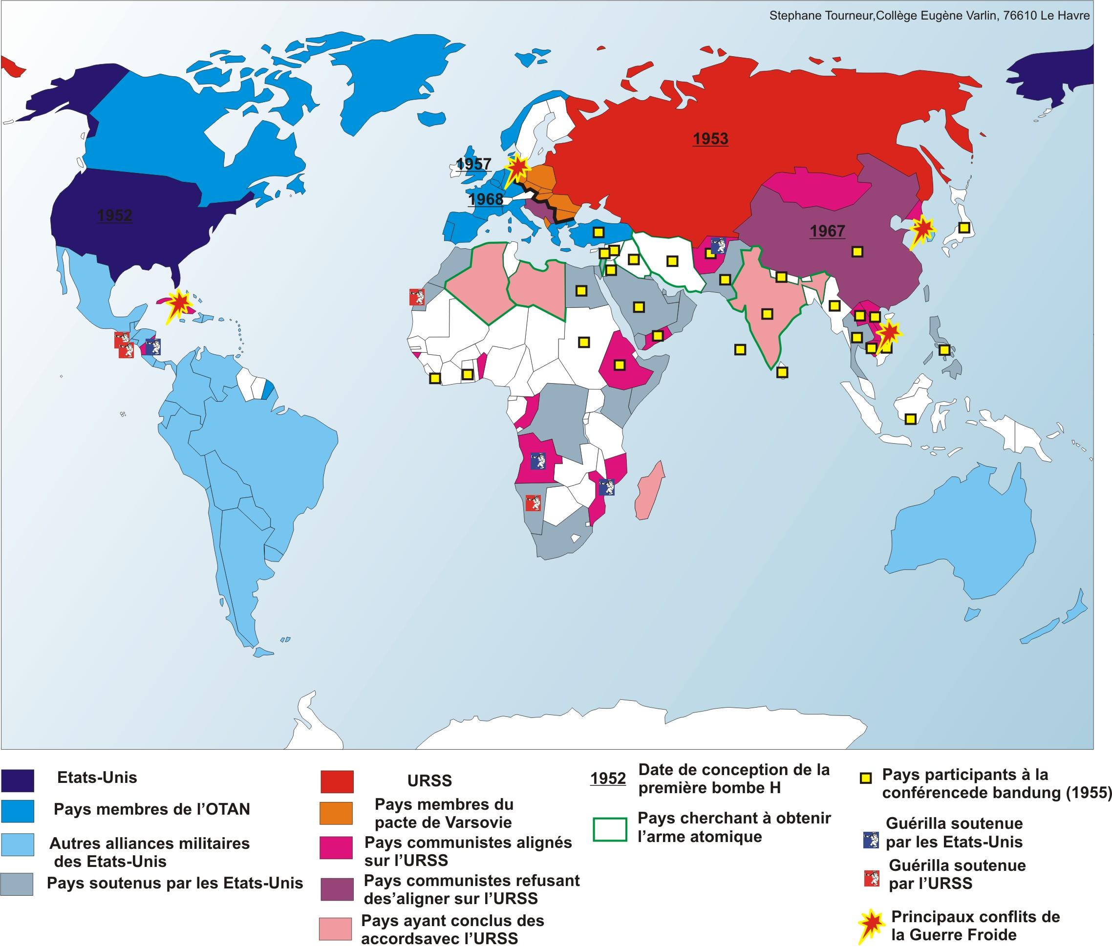 Carte Du Monde Pendant La Guerre Froide.Le Monde Pendant La Guerre Froide Un Monde Bipolaire
