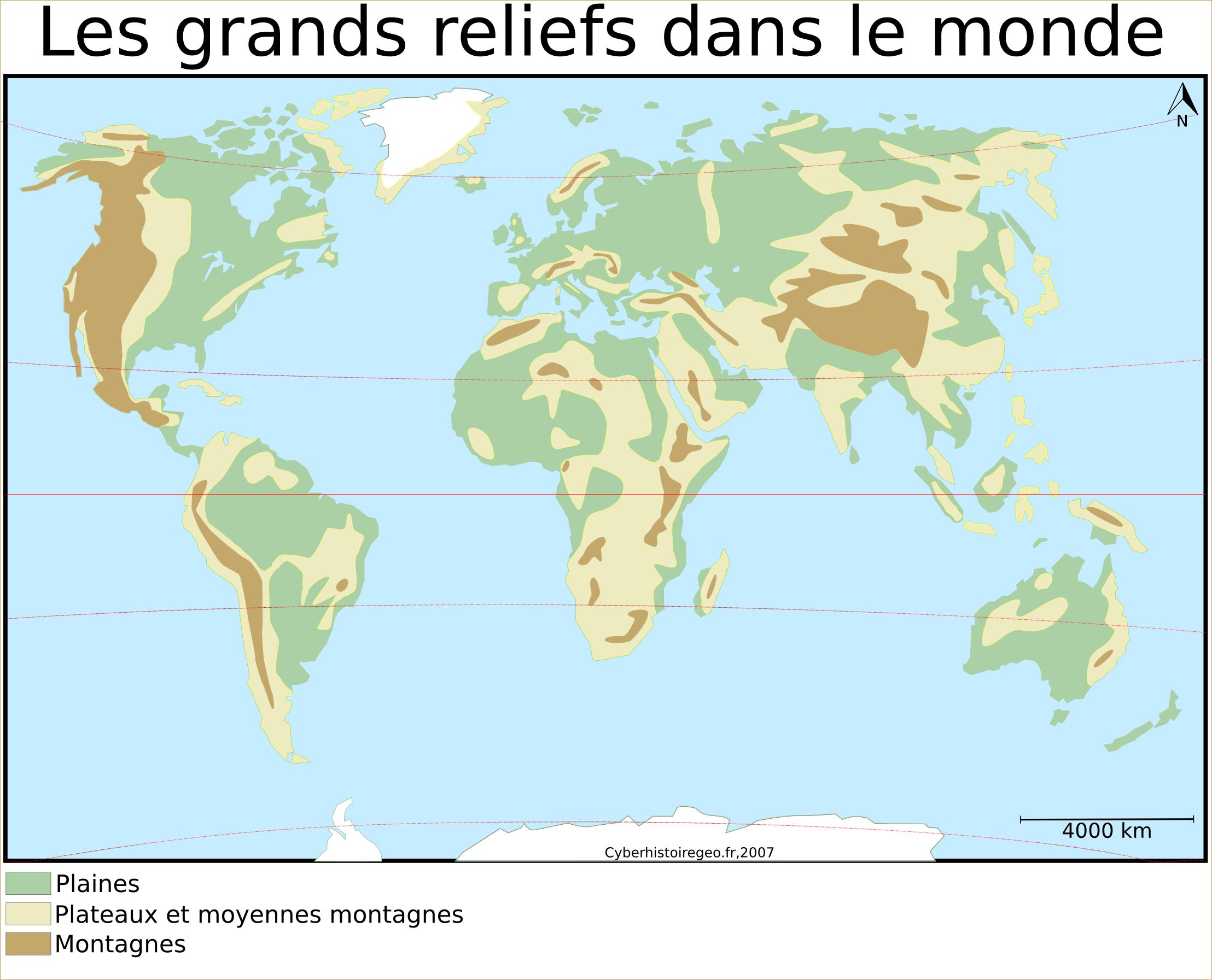 Top Les grands reliefs dans le monde: carte et fond de carte  MO03