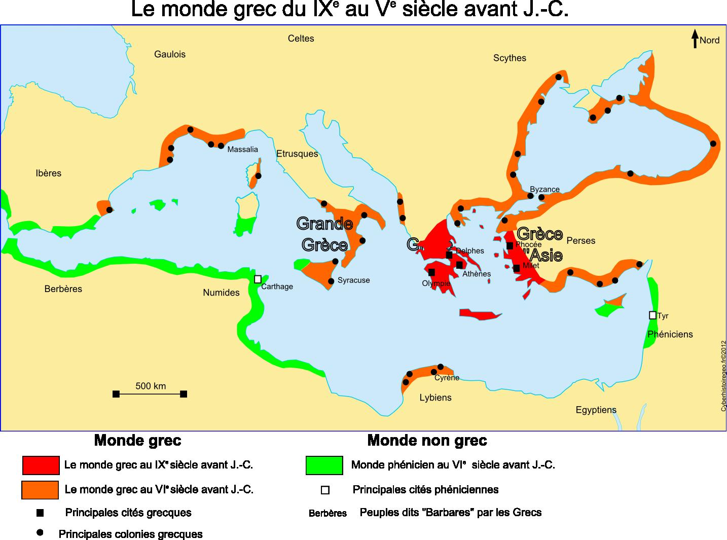 Le monde grec du IXe au Ve siècles avant J. C. (carte et fond de